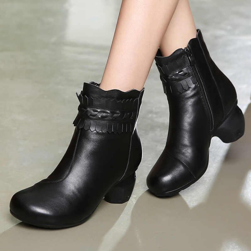 GKTINOO kış patik kadın botları Vintage hakiki deri yüksek topuklu ayakkabı yuvarlak ayak ayakkabı moda bayanlar yarım çizmeler kadınlar için