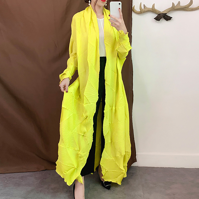 LANMREM 2020 New Fashion Women Clothes V-neck Full Sleeves Open Stitch Pleated Cardigan Female Jacket WG53407