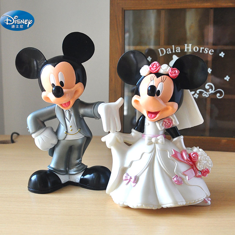 7 Cm Minnie Mickey Mouse Marry Action Disney China Red  Dolls  Kids Toy Figures Wedding Present Kids Gift Toys For Children