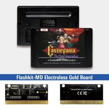 Castlevania הדור החדש EUR תווית Flashkit MD Electroless זהב PCB כרטיס עבור Sega Genesis Megadrive וידאו משחק קונסולה