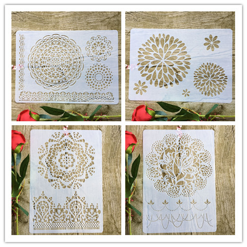 4pcs/set flowers Mandala  A4 DIY stencil wall painting scrapbook coloring photo album decorative paper card template