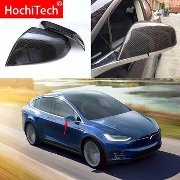 For Tesla Model x 100D 75D 90D p90D 2016 2017 2018 100% Real Carbon Fiber Rear View Mirror Cover Side Mirror Caps car styling