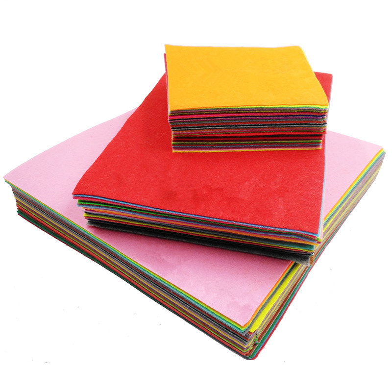 10CM Mix 88 Colors Non Woven Felt Fabric DIY Polyester Cloth Felts With Thread DIY Bundle For Sewing Crafts 1mm Thickness 10