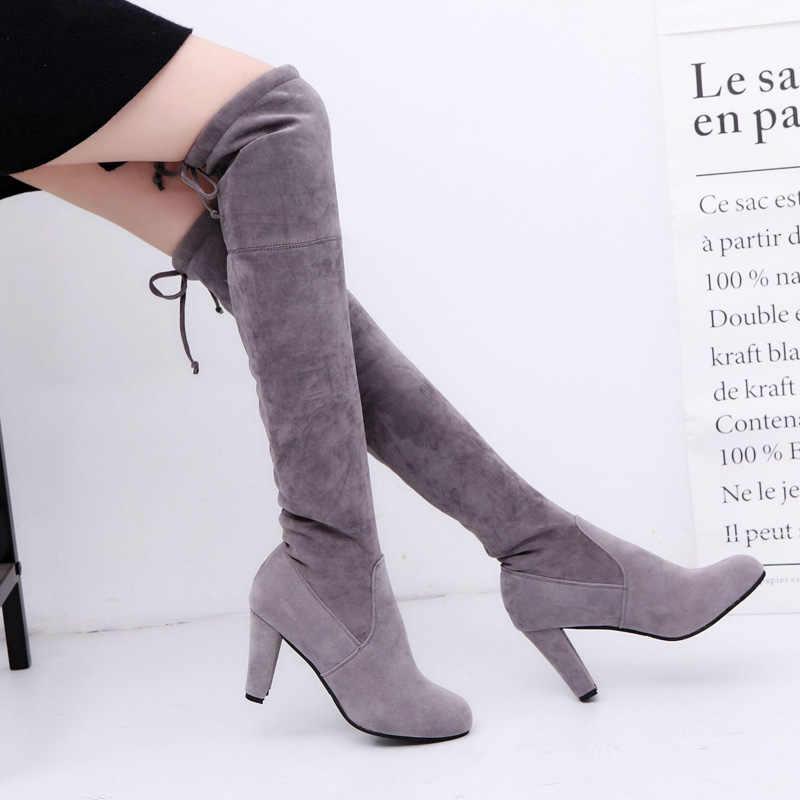 סקסי מעל לברך מגפי נשים מגפי חורף נעלי אישה תחרה עד אופנה זמש עקבים גבוהים מגפיים ירך גבוהה מגפי 41 42 43