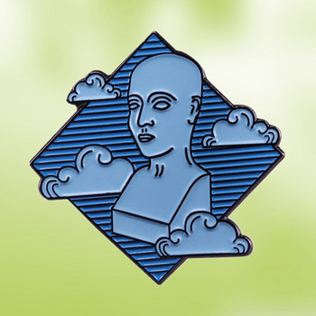 Sky Head Sculpture Art enamel pin daydreamer meditation gift surreal brooch badge image