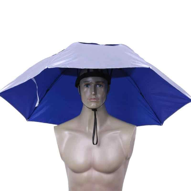 שימושי 95CM גדול ראש מטרייה אנטי Uv נגד גשם חיצוני נסיעות מטריית דיג כובע נייד שלושה קיפול מטרייה גברים נשים