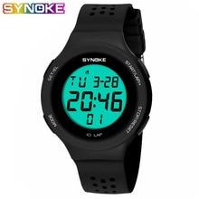 SYNOKE Sport Kids Digital Watches Led Multi-Function Water Resistant Alarm Clock Date PU Teenager Boys Girls Watch Wristwatch все цены