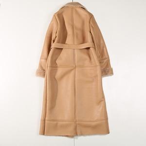 Image 2 - EI BAWN 2020 kış hakiki deri ceket koyun derisi haki uzun ceket Shearling ceket kemer sıcak kuzu koyun kürk dış giyim palto