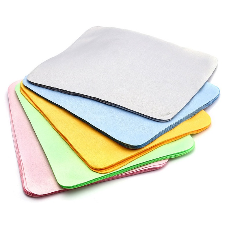 10 Pcs /lot  Microfiber Cleaning Cloth Eyeglasses Chamois Glasses Cleaner 145*175mm For Lens Phone Screen Cleaning Wipes Logo
