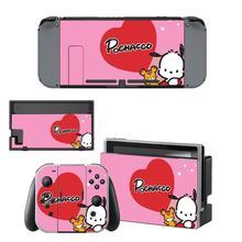 Vinil ekran cilt Pochacco köpek koruyucu çıkartmalar Nintendo anahtarı NS konsolu için + Joy con denetleyici + standı tutucu skins
