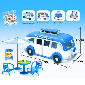 Image 3 - 어린이 귀여운 미니 캠핑카 시뮬레이션 플라스틱 핑크 Motorhome 차량 인형 집 가구 액세서리 바비 인형 놀이 장난감