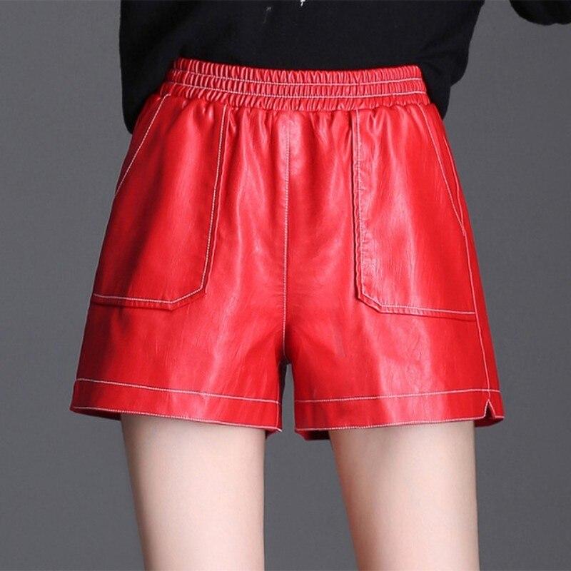 Black Red Leather Shorts Pockets Fashion Harajuku Women New Spring PU Leather Short Loose Fit Elastic Waist Sexy Ladies Shorts
