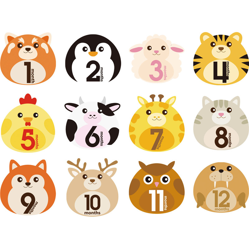 12 Pcs/Set Animal First Year Monthly Milestone Photo Sharing Baby Cards Gift Belly Stickers 1-12 Months For Baby Photo Keepsakes