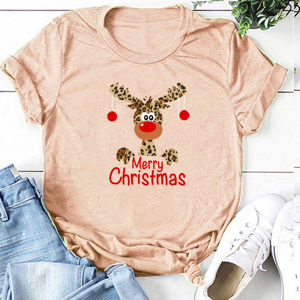 Women Cute Leopard Reindeer Deer Women T Shirt Fashion Merry Christmas Print Harajuku Short Sleeve T-Shirt Woman Tops Clothing