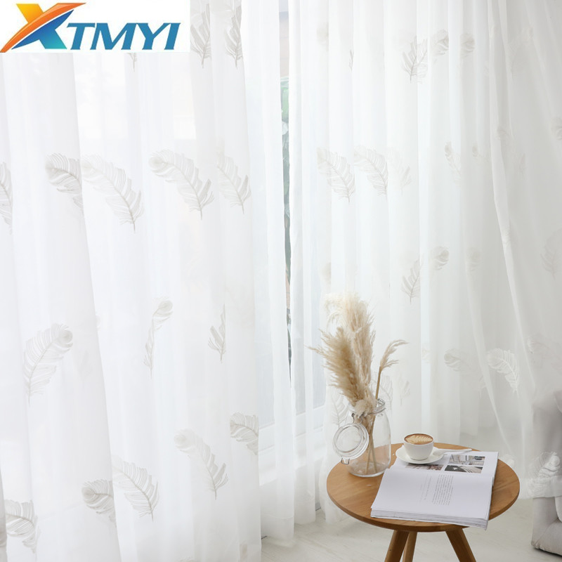 Tulle Curtains For Living Room Elegant Feather Kitchen Curtain For Bedroom Home Decorative Window Ready Made Curtain CustomizedCurtains   -