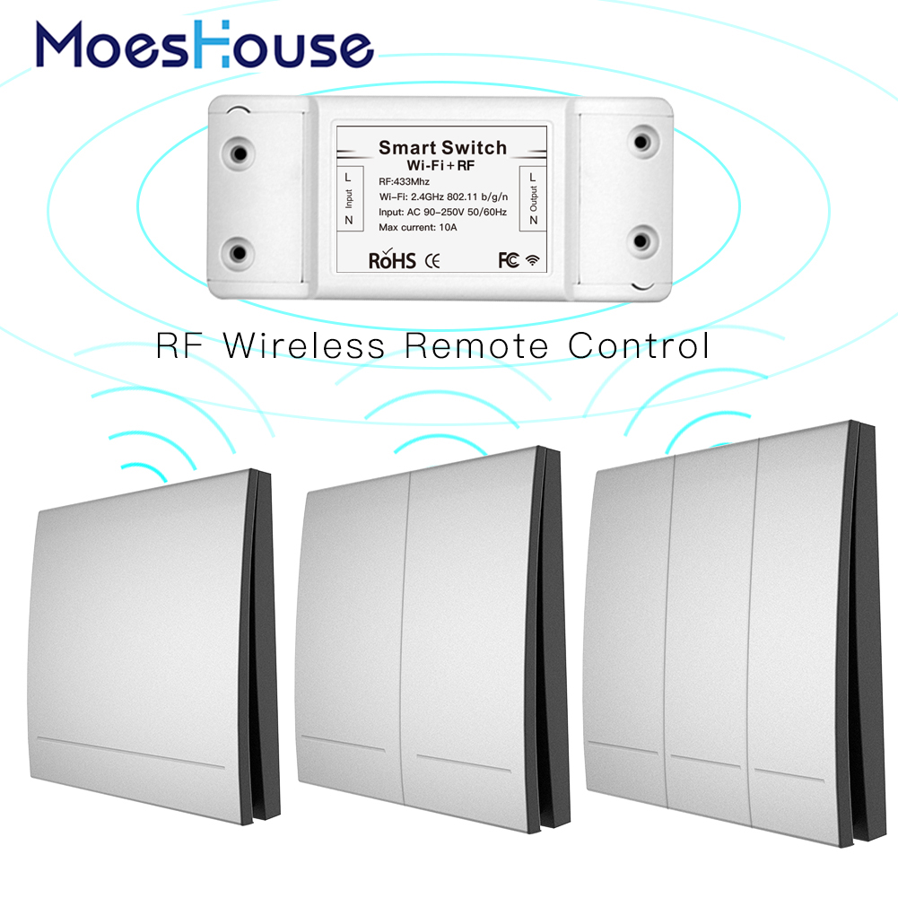 Wifi Wireless Remote Control Smart Switch Wall Panel Transmitter ,Smart Life/Tuya APP Works with Alexa Google Home <font><b>RF433Mhz</b></font> image