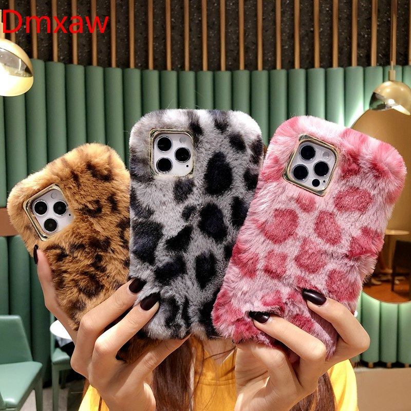 Plush Leopard Print Silicone Case for Samsung Galaxy Note 20 Ultra A11 M11 A41 A21 A70 J7 J2 Prime Fluffy Winter Warm Fur Cover