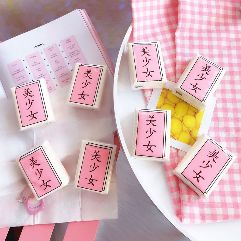 Japanese Style Pink Sweet Girls Portable Three-Layer Disposable Paper Towel Tissue Chinese Funny Words Unscented Handkerchief Napkin
