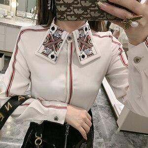 Новинка 2020, Весенняя полосатая рубашка с длинным рукавом и принтом в виде покера, женская модная блузка, Ретро стиль, женские блузы, топы