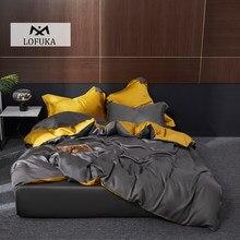 Lofuka Dark Gray 100% Silk Bedding Set Deep Sleep Beauty Duvet Cover Flat Sheet Pillowcase Super Soft Double Queen King Bed Set