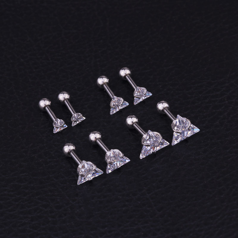 Triangular Zircon Otica Ear Stud Anti-Allergy Stainless Steel Puncture Earrings Jewelry Supply Of Goods