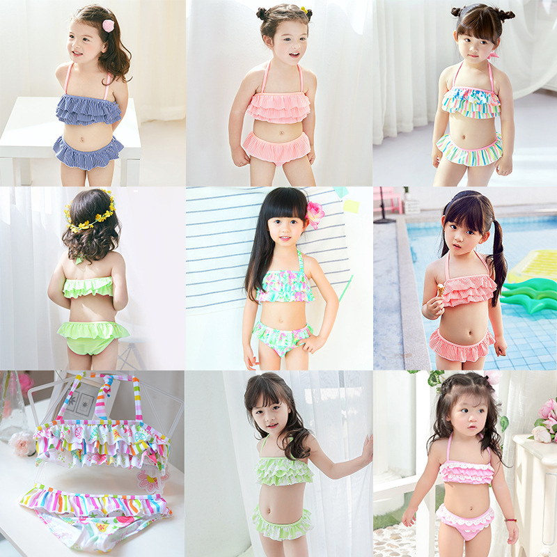 2019 KID'S Swimwear Small Children Infants Baby GIRL'S Tube Top Cake Split Type Two-Piece Swimwear Combination
