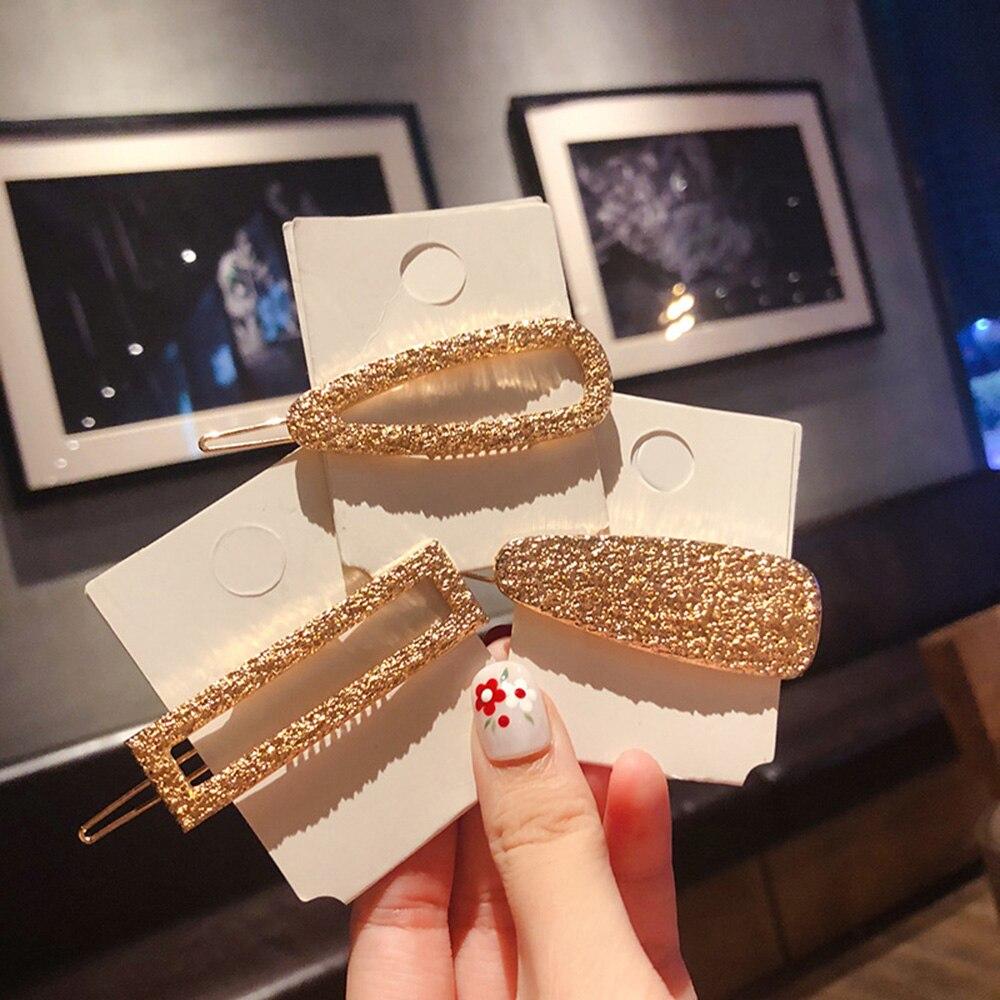 2020 New Fashion Geometric Waterdrop Rhinestone Hair Clip Girls Gold Hairpin Women Hair Accessories Claw Styling Tools