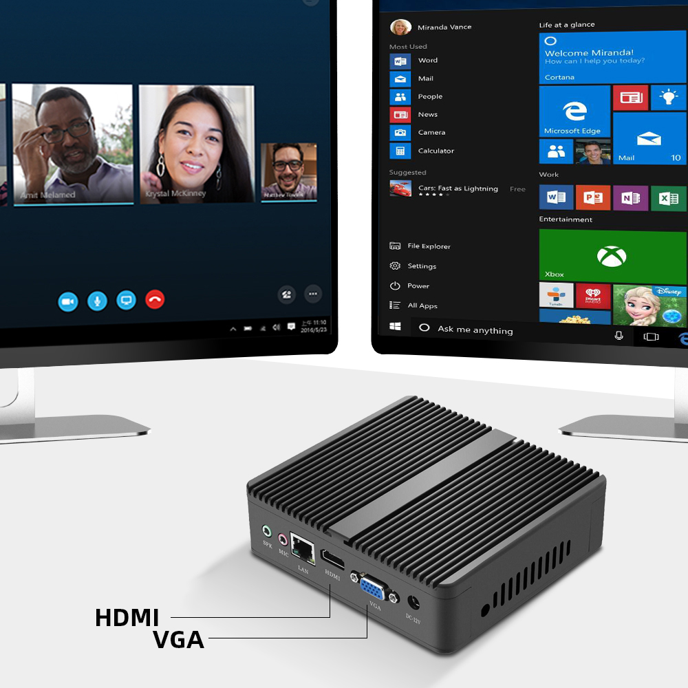 XCY Mini PC Intel Core i7 4500U i5 4200Y i3 4010U DDR3L RAM mSATA SSD WiFi Gigabit LAN Fanless HDMI VGA 6xUSB HTPC Windows 10 5