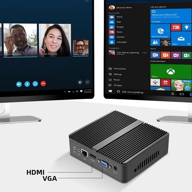 XCY Fanless Mini PC Intel Core i7-4500U 4GB/8GB RAM 128GB/256GB SSD 300Mbps WiFi Gigabit Ethernet HDMI VGA HTPC Windows 10 5
