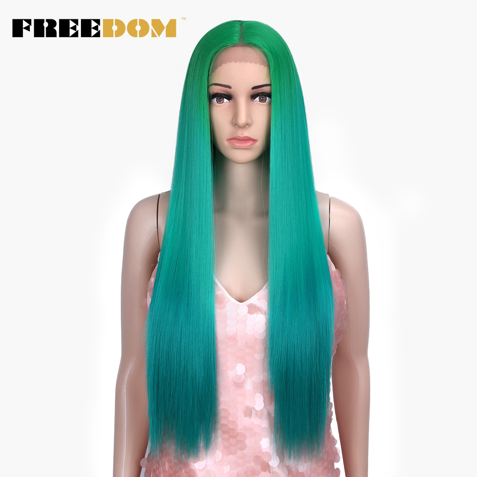 FREEDOM Synthetic Lace Front Wigs Omber Green Rainbow Red Color Pink Hair Long Straight 30inch Heat Resistant Fiber Cosplay Wigs