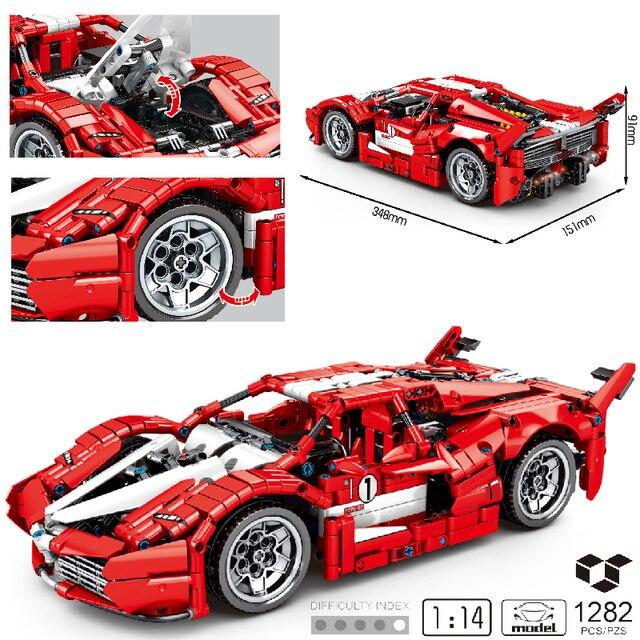 MOC 1282pcs Classic City Sports Car Building Block Model High-Tech Speed Roadster Kid Toy Assembled DIY Bricks birthday Gifts 1