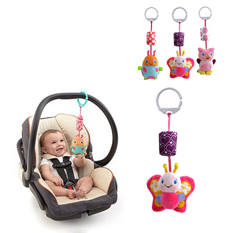 Baby Mobiles Infant Rattle Animal Handbells Baby Stroller Hanging Bell Toddler Kids Soft Plush Toys Rattles Newborns Gifts A50