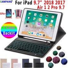 Funda para teclado Bluetooth retroiluminada para iPad 9,7 2017 2018, funda con Portalápices para iPad Air 1 2 5th 6th Generation Pro 9,7