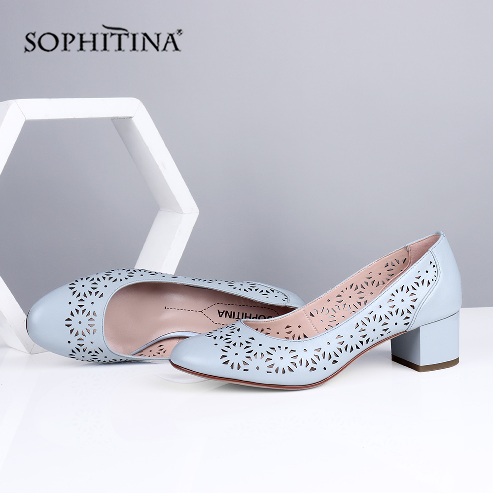 SOPHITINA New Hollow-Out Design Pumps Women Office High Quality Sheepskin Slip-On Round Toe Shoes Comfortable Casual Pumps PC697
