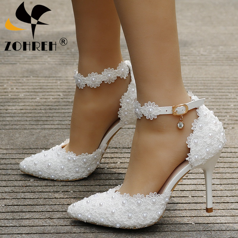 Pumps Women Shoes Ankle Strap Rhinestone High Heels Shoes Women Wedding Shoes Lace Flowers High Heel Stiletto Pumps Shoes White