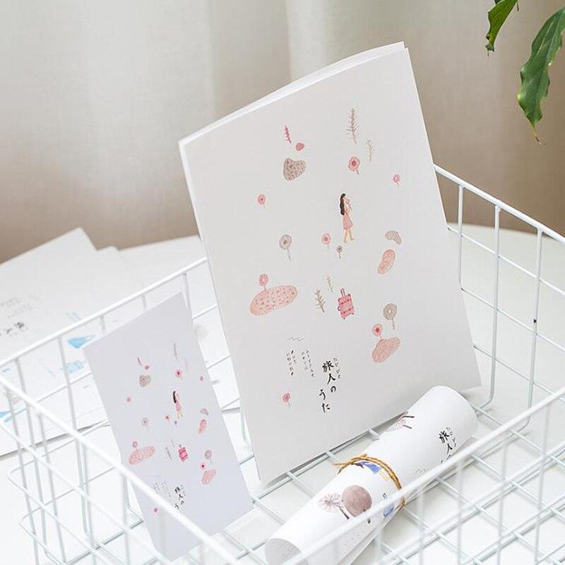 9 Pcs/pack 3 Envelopes + 6 Sheets Paper Letters Travel Poet Plant Flower Envelope Letters Set Stationery School Office Gifts