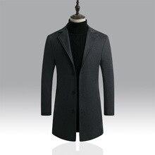 Модное мужское шерстяное пальто, зимнее теплое одноцветное длинное пальто, Мужской однобортный деловой Повседневный пиджак