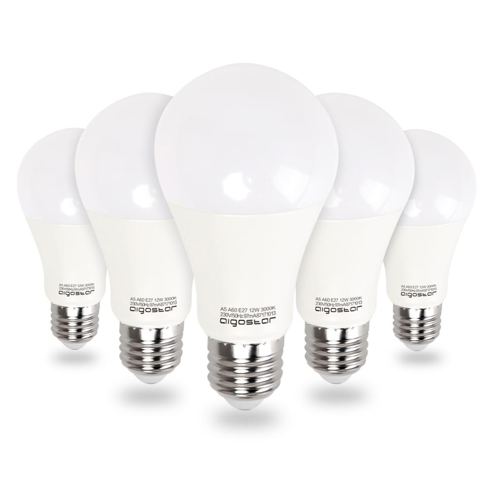 Aigostar - LED Bulb A60 E27 12W, Equivalent To 100W ,  3000K, 984 Lumens, CRI≥80Ra, 280°,not Dimmable,pack Of 5 Units