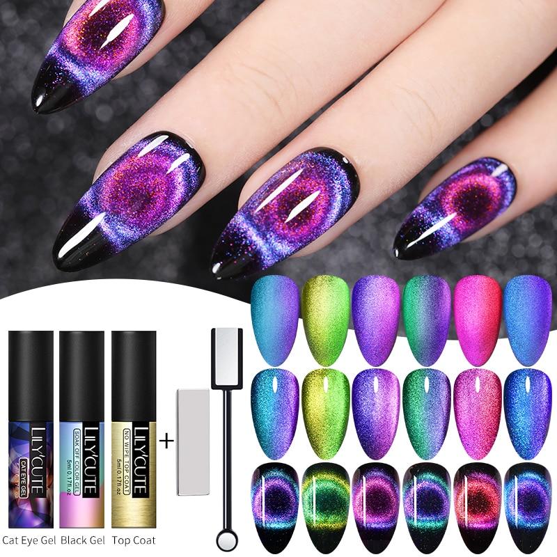 LILYCUTE 9D Cat Eye UV Gel Soak Off UV LED Nail Polish Magnet Laser Shining Colorful Nail Art Varnish Varnish All For