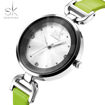 SK Japan Movement Fashion SHENGKE Brand Women's Fashion Wristwatches Leather Ladies Dress Quartz Watches Relogio Feminino Green image