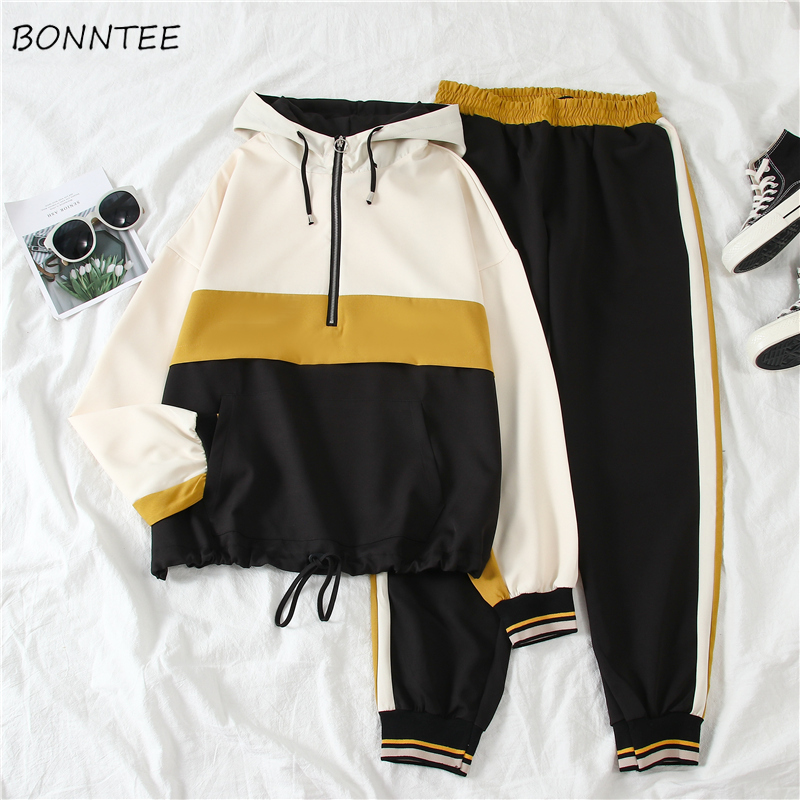 Women Sets Striped Korean Style Pullover Leisure All-match Loose Harajuku Womens Two Piece Set Top And Pants Pockets Students