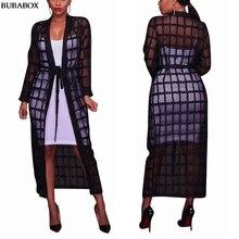 Robe Overcoat Maxi Black Beach Women Summer Plaid Elegant Long Casual Female See-Through