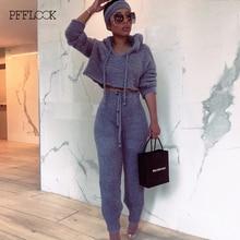 PFFLOOK 2019 Autumun נשים 2 חתיכה סט חורף תלבושות אלגנטי מוצק סוודר סטים תואמים Streetwear מזדמן צמר שתי חתיכה להגדיר