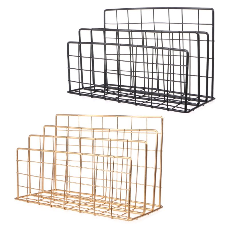 Grid Wrought Iron Desktop Storage Rack Bookshelf Magazine File Organizer Holder