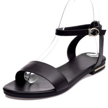 Plus Size 34-43 New High Quality Genuine Leather Sandals Women Shoes Ladies Solid Color Flat Summer Beach Shoes sagace 2018 plus size 34 43 new high quality genuine leather sandals women girls shoes solid color flat summer beach shoes
