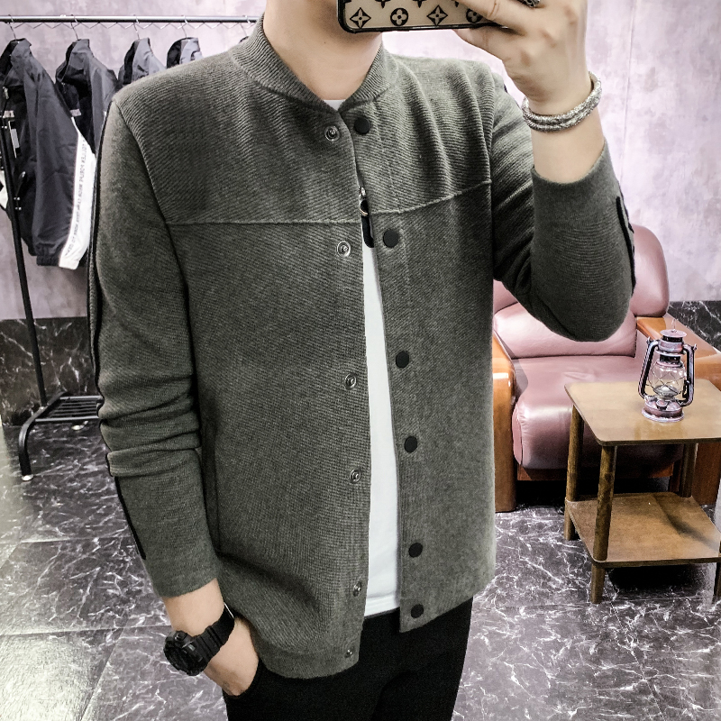 Autumn Winter Sweater Men Fashion 2020 Single Breasted Striped Long Sleeve Cardigan Men Slim Fit Casual Knitted Men Coats 3XL-M