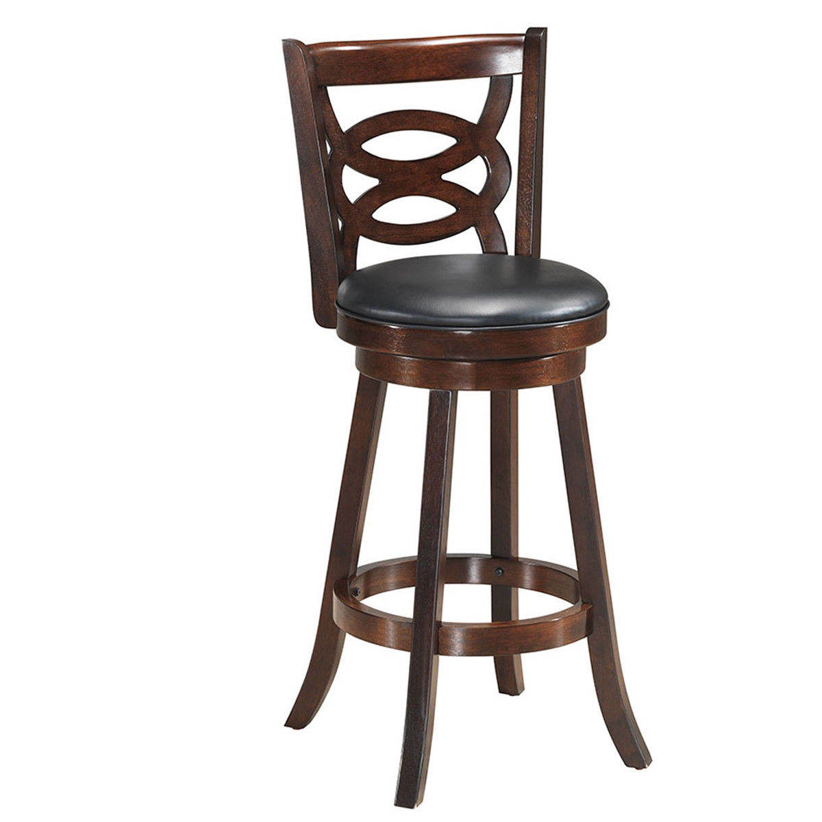 Costway Swivel Stool 29'' Bar Height Upholstered Seat Dining Chair Home Kitchen Espresso