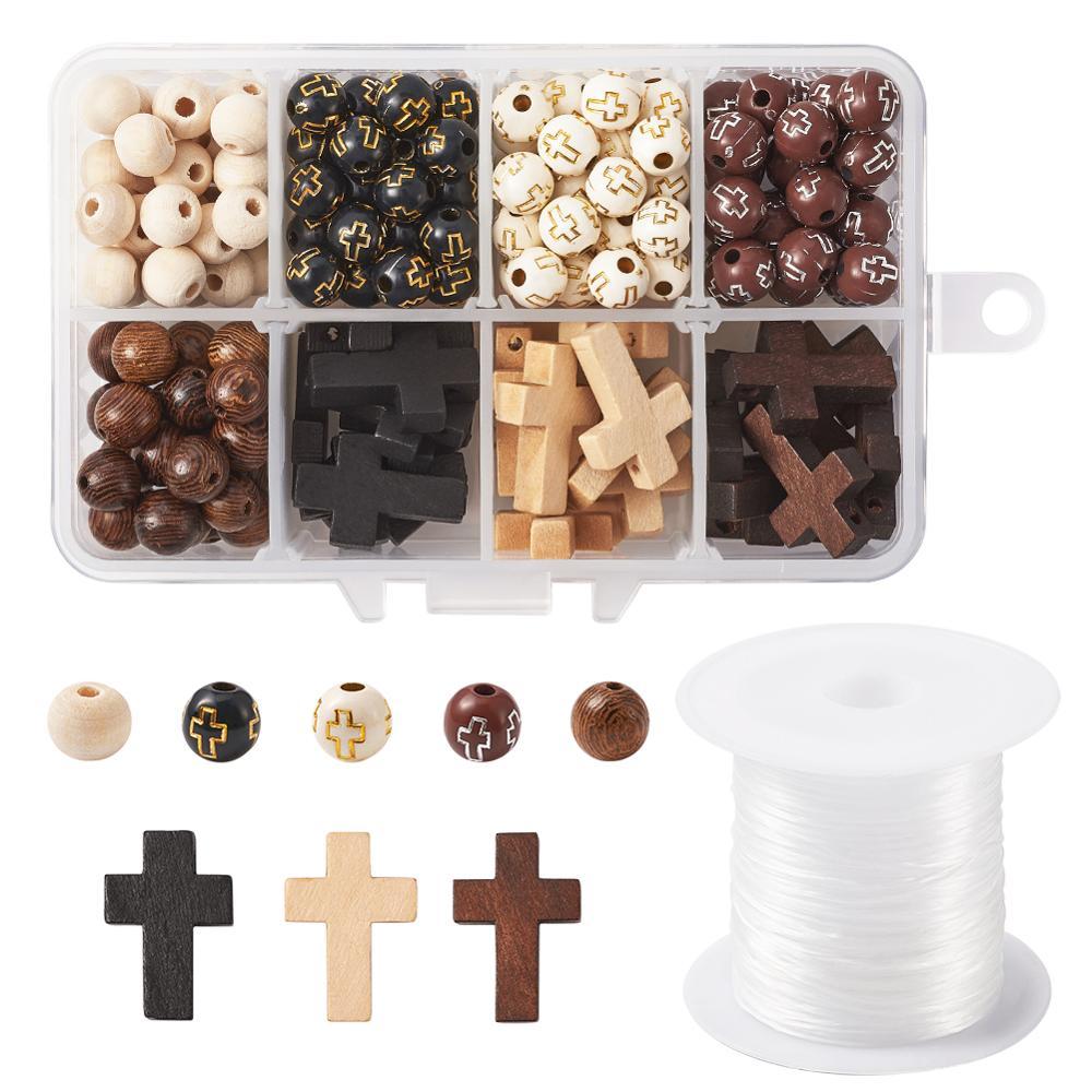 Brown Crackle Glass Bead Earrings 10mm Round Beads on Nickelfree Hooks