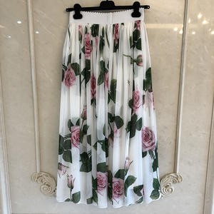 Fashion Skirts Long High-Quality 100%Silk Printed Floral Luxury Mid-Calf for Lady