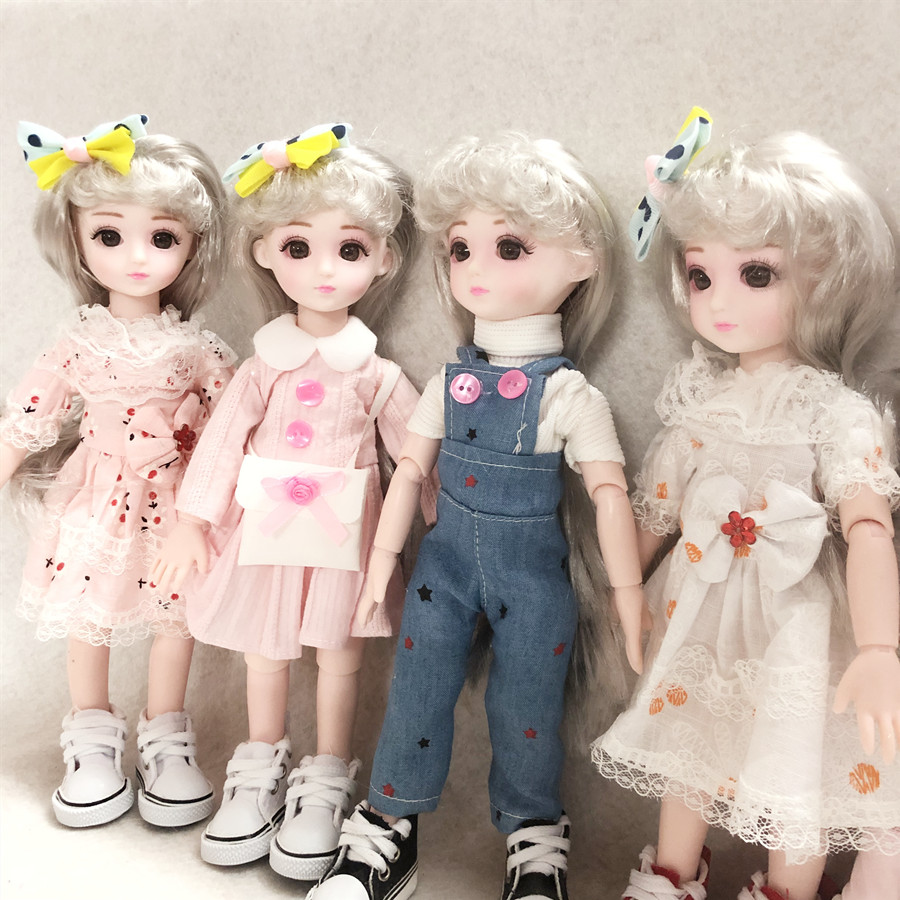 BJD Doll 28cm Movable Jointe Dolls 3D Eyes Gray hair Bjd Plastic Doll  Fashion Christmas Gift Toy for Girls Gift
